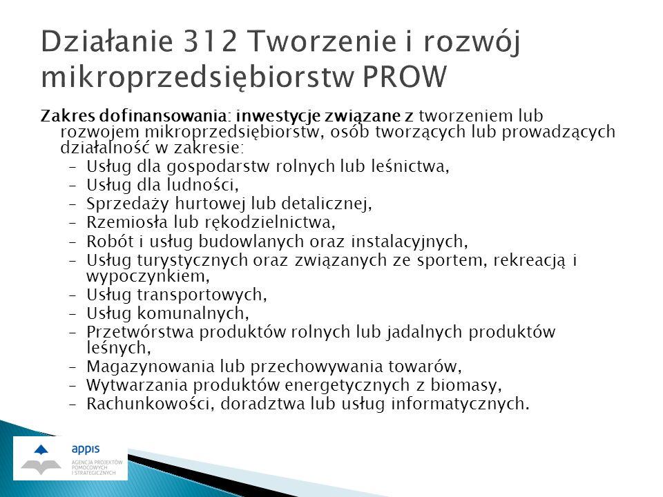 1.dofinansowanie dla małych projektów do 50 tys. zł.