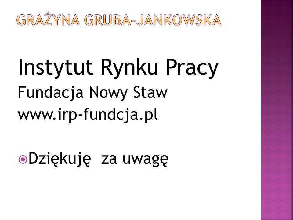 Instytut Rynku Pracy Fundacja Nowy Staw www.irp-fundcja.pl Dziękuję za uwagę
