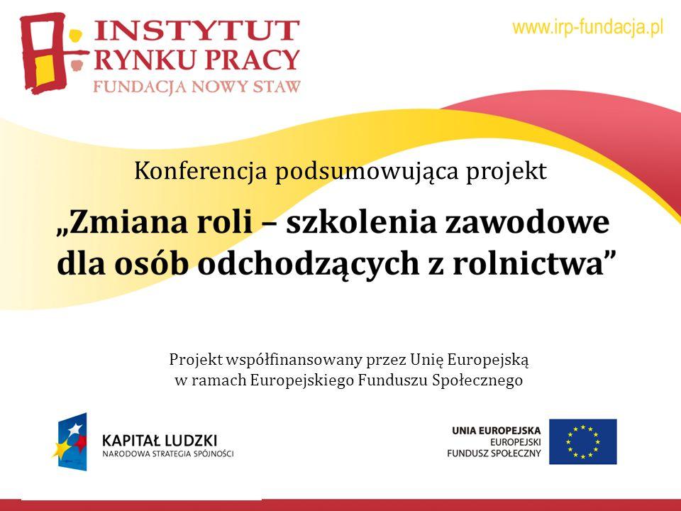 Konferencja podsumowująca projekt Projekt współfinansowany przez Unię Europejską w ramach Europejskiego Funduszu Społecznego