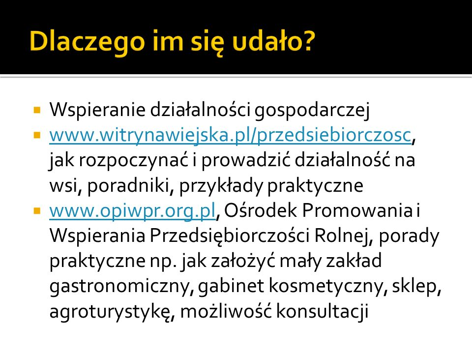 Wspieranie działalności gospodarczej www.witrynawiejska.pl/przedsiebiorczosc, jak rozpoczynać i prowadzić działalność na wsi, poradniki, przykłady pra
