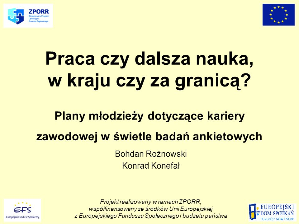 Projekt realizowany w ramach ZPORR, współfinansowany ze środków Unii Europejskiej z Europejskiego Funduszu Społecznego i budżetu państwa Akceptowane i preferowane przez młodzież formy umowy o pracę