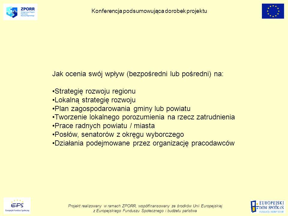 Projekt realizowany w ramach ZPORR, współfinansowany ze środków Unii Europejskiej z Europejskiego Funduszu Społecznego i budżetu państwa Konferencja podsumowująca dorobek projektu Jak ocenia swój wpływ (bezpośredni lub pośredni) na: Strategię rozwoju regionu Lokalną strategię rozwoju Plan zagospodarowania gminy lub powiatu Tworzenie lokalnego porozumienia na rzecz zatrudnienia Prace radnych powiatu / miasta Posłów, senatorów z okręgu wyborczego Działania podejmowane przez organizację pracodawców