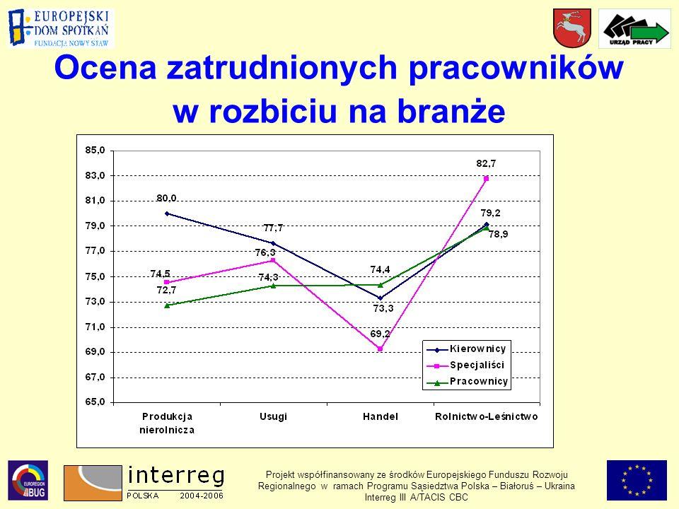 Ocena zatrudnionych pracowników w rozbiciu na branże Projekt współfinansowany ze środków Europejskiego Funduszu Rozwoju Regionalnego w ramach Programu Sąsiedztwa Polska – Białoruś – Ukraina Interreg III A/TACIS CBC