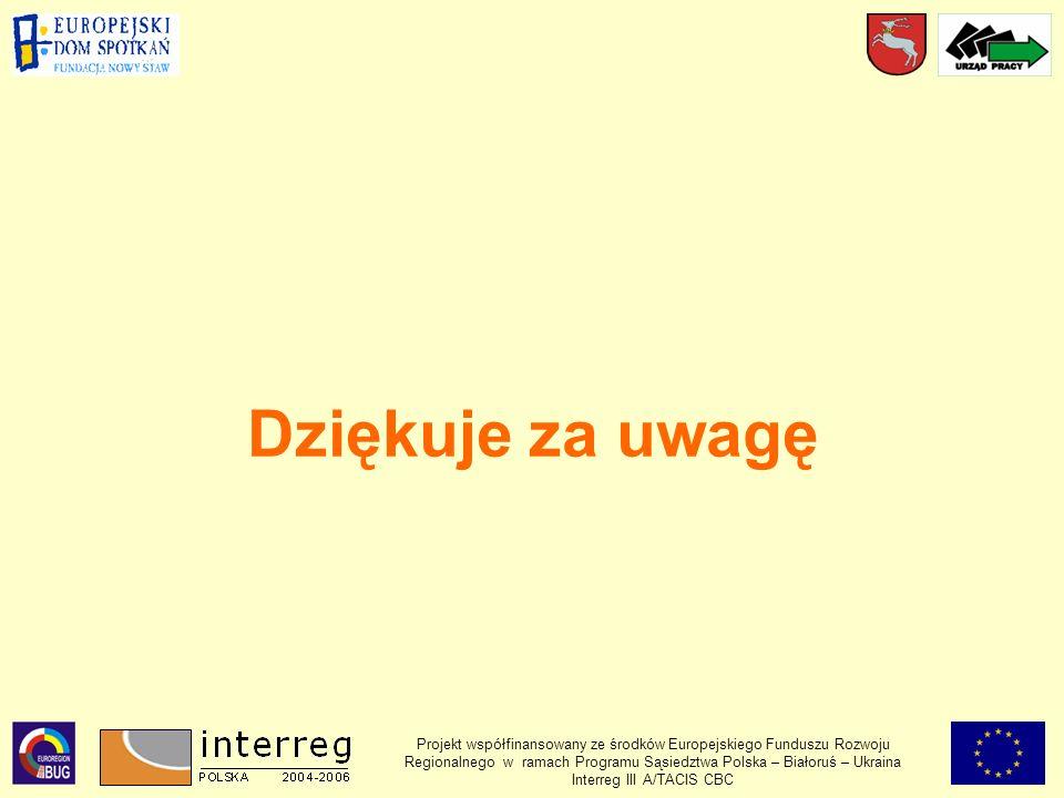 Dziękuje za uwagę Projekt współfinansowany ze środków Europejskiego Funduszu Rozwoju Regionalnego w ramach Programu Sąsiedztwa Polska – Białoruś – Ukraina Interreg III A/TACIS CBC