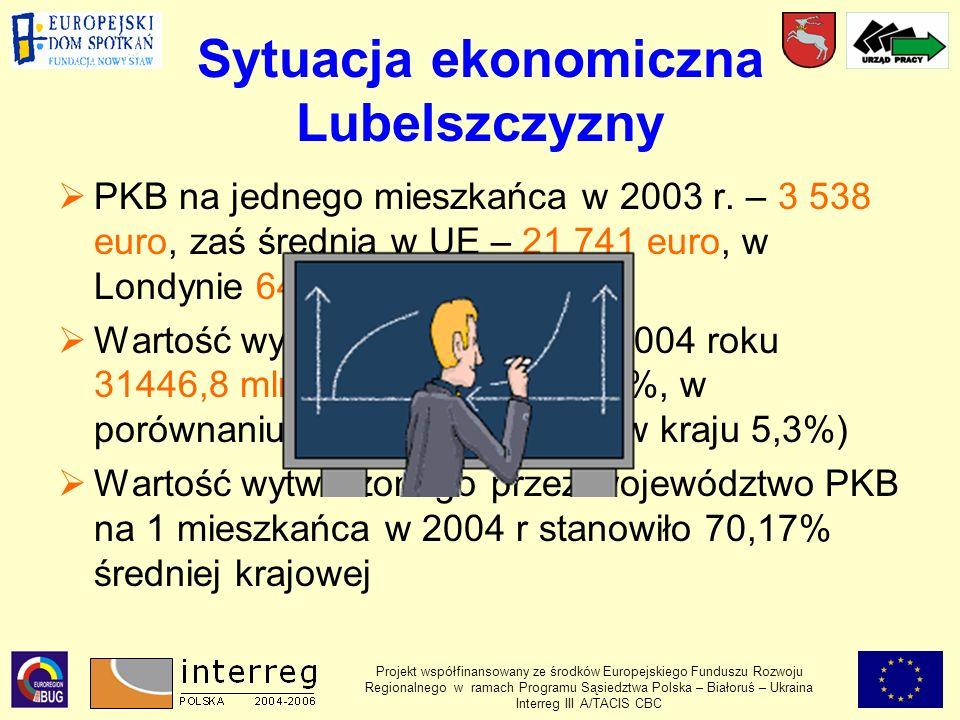 Sytuacja ekonomiczna Lubelszczyzny PKB na jednego mieszkańca w 2003 r.