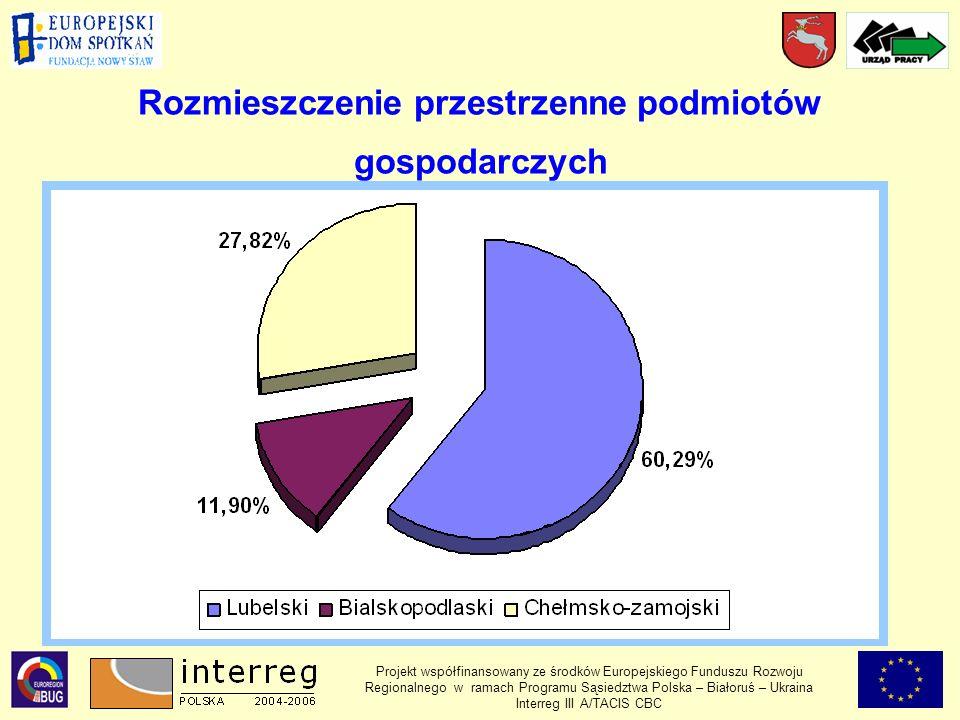 Rozmieszczenie przestrzenne podmiotów gospodarczych Projekt współfinansowany ze środków Europejskiego Funduszu Rozwoju Regionalnego w ramach Programu Sąsiedztwa Polska – Białoruś – Ukraina Interreg III A/TACIS CBC