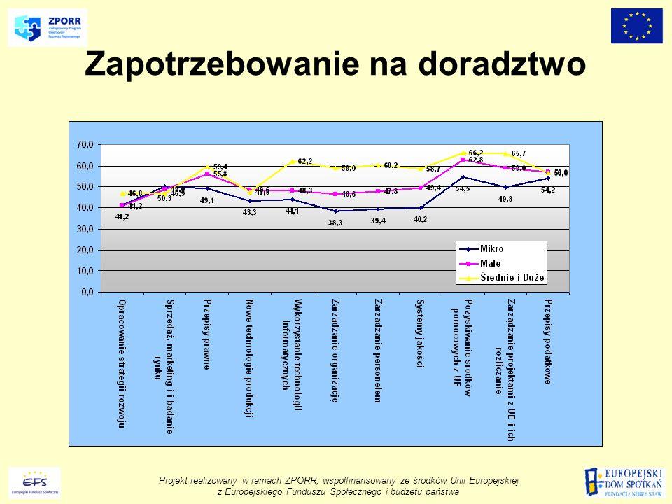 Projekt realizowany w ramach ZPORR, współfinansowany ze środków Unii Europejskiej z Europejskiego Funduszu Społecznego i budżetu państwa Zapotrzebowanie na doradztwo