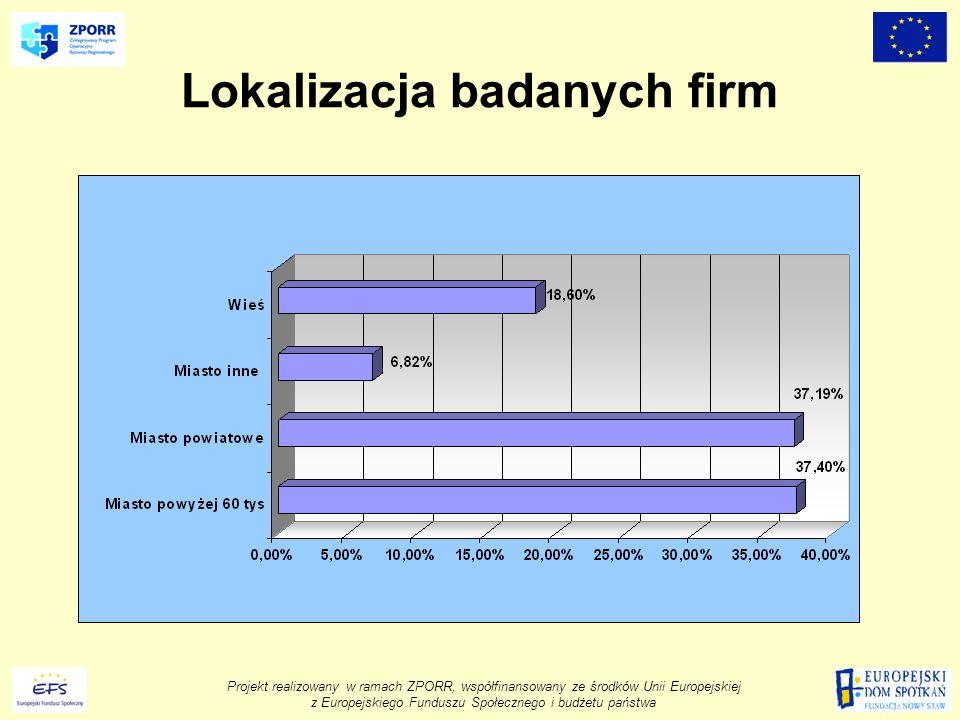 Projekt realizowany w ramach ZPORR, współfinansowany ze środków Unii Europejskiej z Europejskiego Funduszu Społecznego i budżetu państwa Lokalizacja badanych firm