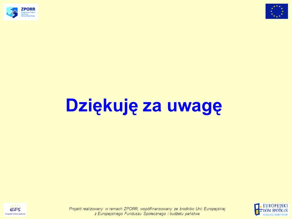 Projekt realizowany w ramach ZPORR, współfinansowany ze środków Unii Europejskiej z Europejskiego Funduszu Społecznego i budżetu państwa Dziękuję za uwagę