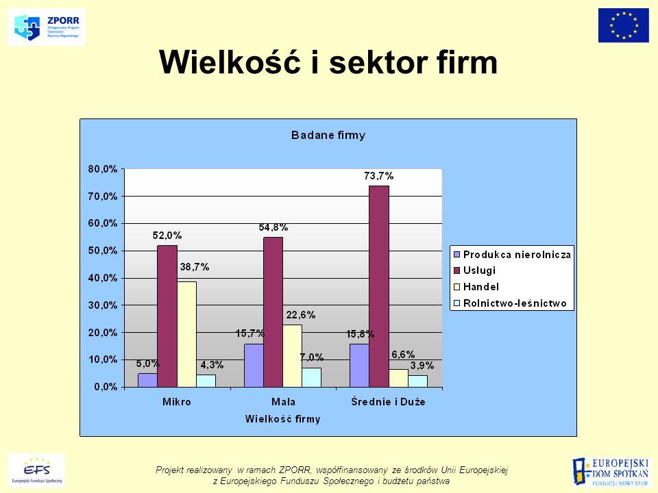 Projekt realizowany w ramach ZPORR, współfinansowany ze środków Unii Europejskiej z Europejskiego Funduszu Społecznego i budżetu państwa Wielkość i sektor firm