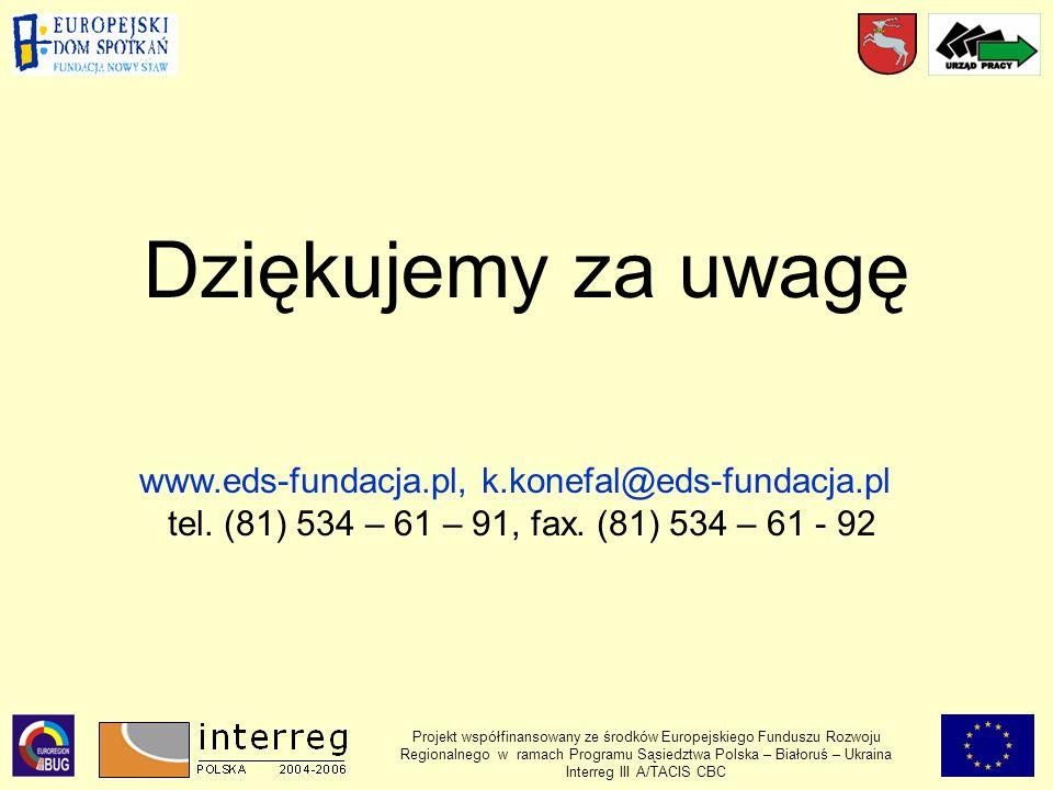 Projekt współfinansowany ze środków Europejskiego Funduszu Rozwoju Regionalnego w ramach Programu Sąsiedztwa Polska – Białoruś – Ukraina Interreg III A/TACIS CBC Dziękujemy za uwagę www.eds-fundacja.pl, k.konefal@eds-fundacja.pl tel.