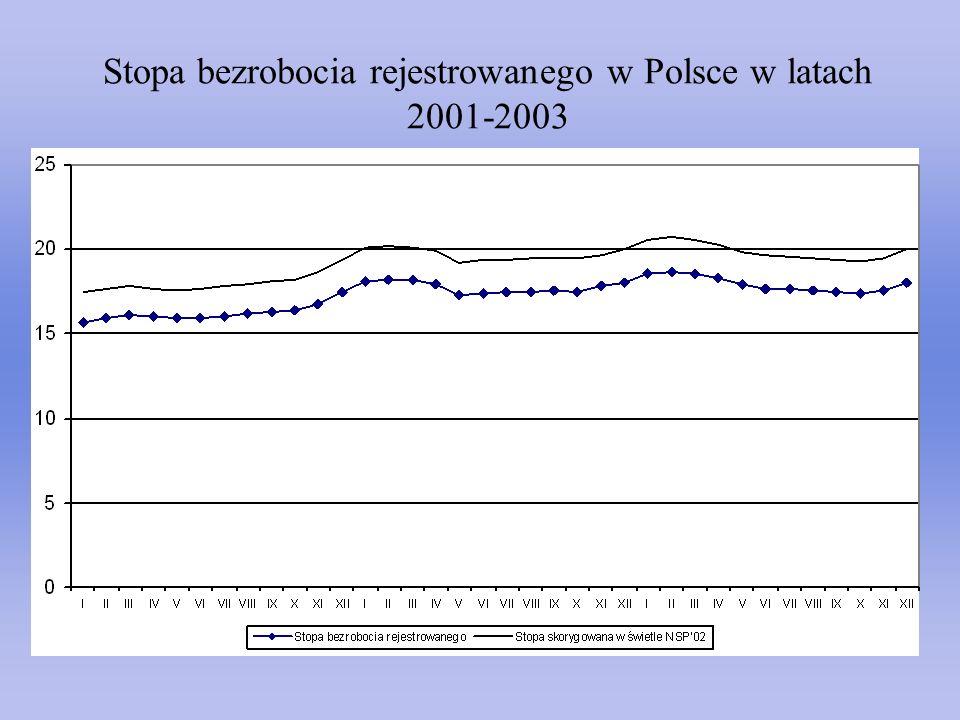 Stopa bezrobocia rejestrowanego w Polsce w latach 2001-2003