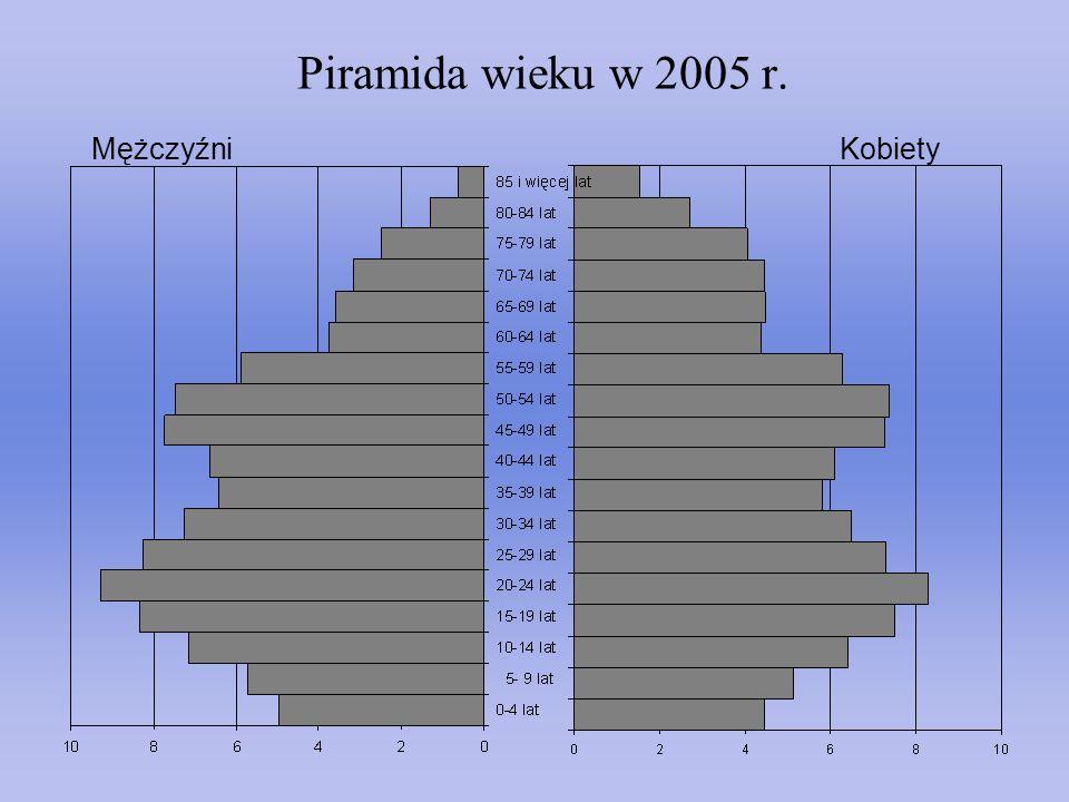 Piramida wieku w 2005 r. MężczyźniKobiety