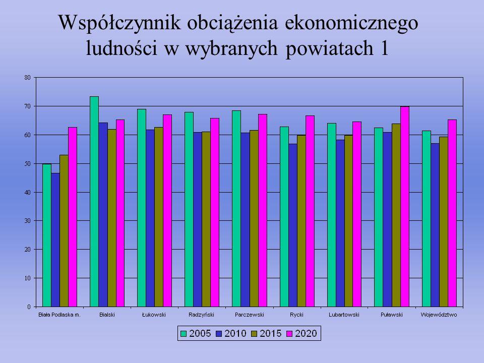 Współczynnik obciążenia ekonomicznego ludności w wybranych powiatach 1