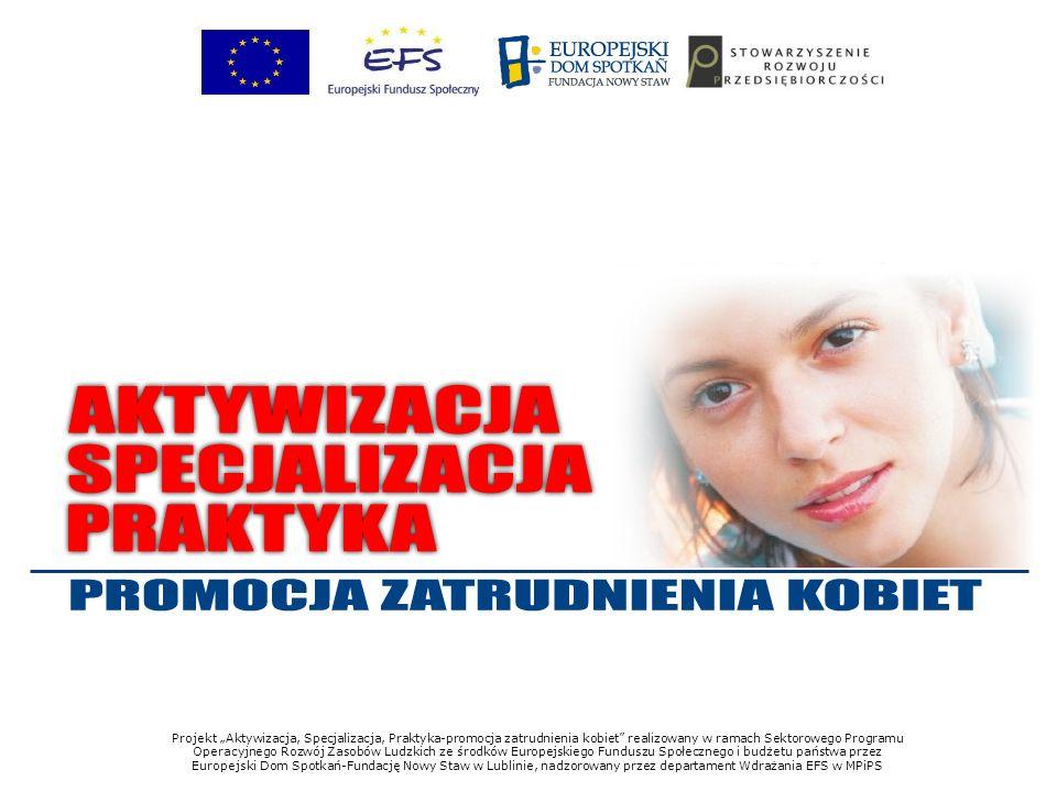 Projekt Aktywizacja, Specjalizacja, Praktyka-promocja zatrudnienia kobiet realizowany w ramach Sektorowego Programu Operacyjnego Rozwój Zasobów Ludzkich ze środków Europejskiego Funduszu Społecznego i budżetu państwa przez Europejski Dom Spotkań-Fundację Nowy Staw w Lublinie, nadzorowany przez departament Wdrażania EFS w MPiPS