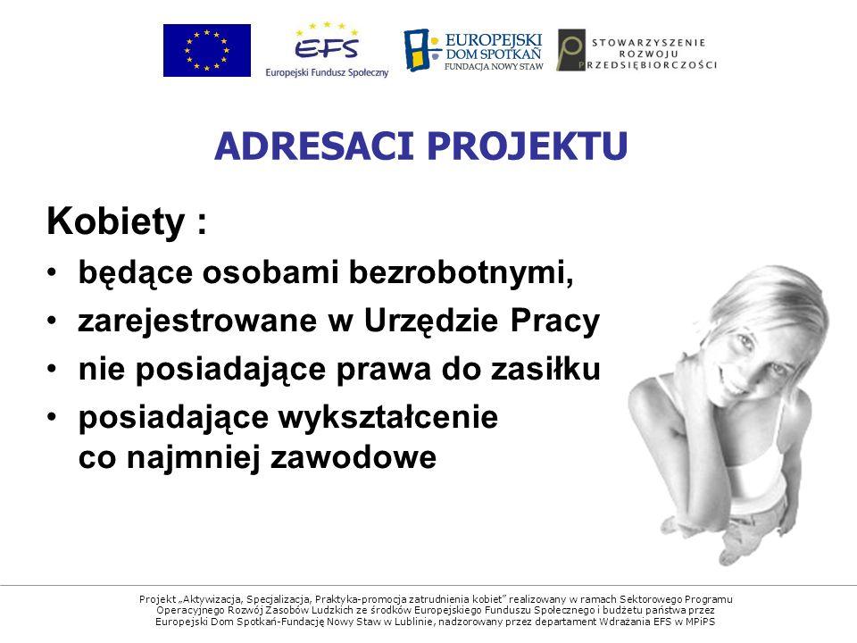 Projekt Aktywizacja, Specjalizacja, Praktyka-promocja zatrudnienia kobiet realizowany w ramach Sektorowego Programu Operacyjnego Rozwój Zasobów Ludzkich ze środków Europejskiego Funduszu Społecznego i budżetu państwa przez Europejski Dom Spotkań-Fundację Nowy Staw w Lublinie, nadzorowany przez departament Wdrażania EFS w MPiPS Kobiety : będące osobami bezrobotnymi, zarejestrowane w Urzędzie Pracy nie posiadające prawa do zasiłku posiadające wykształcenie co najmniej zawodowe ADRESACI PROJEKTU