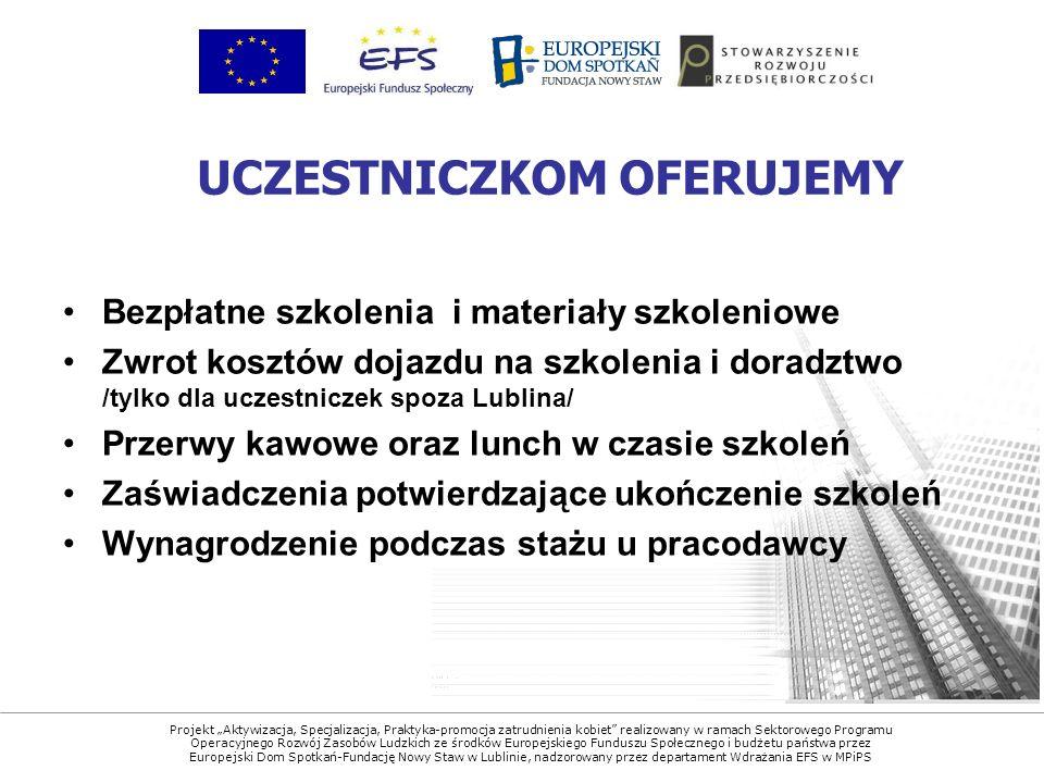 Projekt Aktywizacja, Specjalizacja, Praktyka-promocja zatrudnienia kobiet realizowany w ramach Sektorowego Programu Operacyjnego Rozwój Zasobów Ludzkich ze środków Europejskiego Funduszu Społecznego i budżetu państwa przez Europejski Dom Spotkań-Fundację Nowy Staw w Lublinie, nadzorowany przez departament Wdrażania EFS w MPiPS Bezpłatne szkolenia i materiały szkoleniowe Zwrot kosztów dojazdu na szkolenia i doradztwo /tylko dla uczestniczek spoza Lublina/ Przerwy kawowe oraz lunch w czasie szkoleń Zaświadczenia potwierdzające ukończenie szkoleń Wynagrodzenie podczas stażu u pracodawcy UCZESTNICZKOM OFERUJEMY
