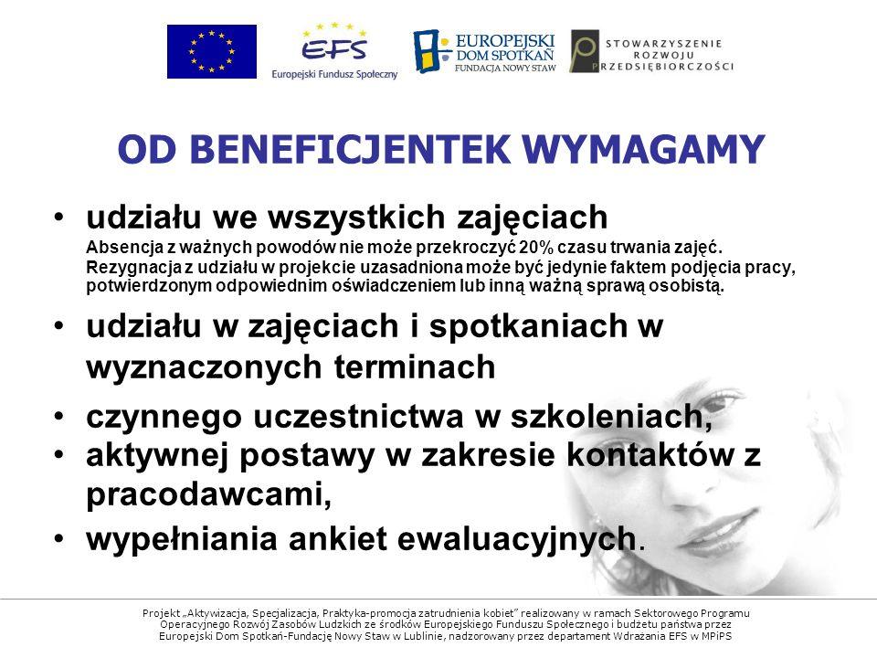 Projekt Aktywizacja, Specjalizacja, Praktyka-promocja zatrudnienia kobiet realizowany w ramach Sektorowego Programu Operacyjnego Rozwój Zasobów Ludzkich ze środków Europejskiego Funduszu Społecznego i budżetu państwa przez Europejski Dom Spotkań-Fundację Nowy Staw w Lublinie, nadzorowany przez departament Wdrażania EFS w MPiPS udziału we wszystkich zajęciach Absencja z ważnych powodów nie może przekroczyć 20% czasu trwania zajęć.