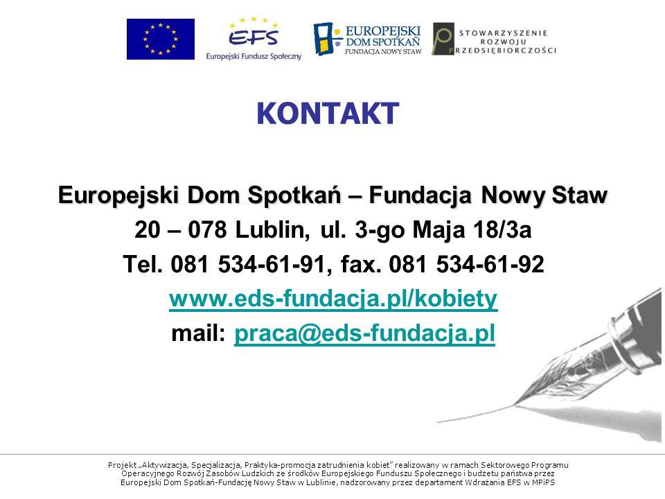 Projekt Aktywizacja, Specjalizacja, Praktyka-promocja zatrudnienia kobiet realizowany w ramach Sektorowego Programu Operacyjnego Rozwój Zasobów Ludzkich ze środków Europejskiego Funduszu Społecznego i budżetu państwa przez Europejski Dom Spotkań-Fundację Nowy Staw w Lublinie, nadzorowany przez departament Wdrażania EFS w MPiPS Europejski Dom Spotkań – Fundacja Nowy Staw 20 – 078 Lublin, ul.