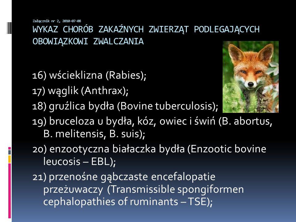 Załącznik nr 2, 2010-07-08 WYKAZ CHORÓB ZAKAŹNYCH ZWIERZĄT PODLEGAJĄCYCH OBOWIĄZKOWI ZWALCZANIA 16) wścieklizna (Rabies); 17) wąglik (Anthrax); 18) gr