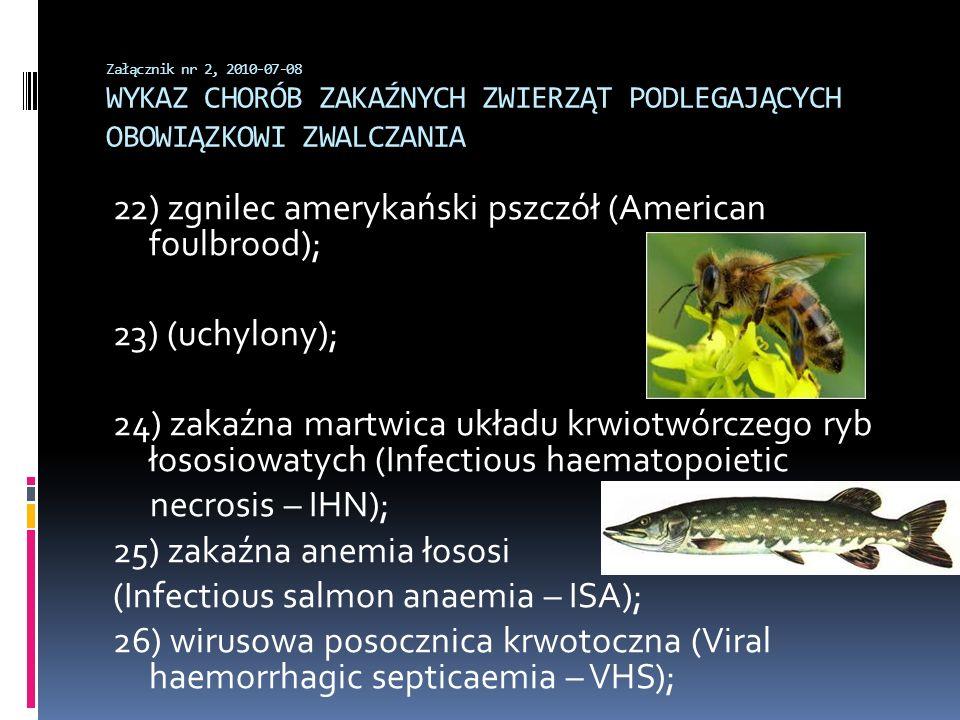 Załącznik nr 2, 2010-07-08 WYKAZ CHORÓB ZAKAŹNYCH ZWIERZĄT PODLEGAJĄCYCH OBOWIĄZKOWI ZWALCZANIA 22) zgnilec amerykański pszczół (American foulbrood);
