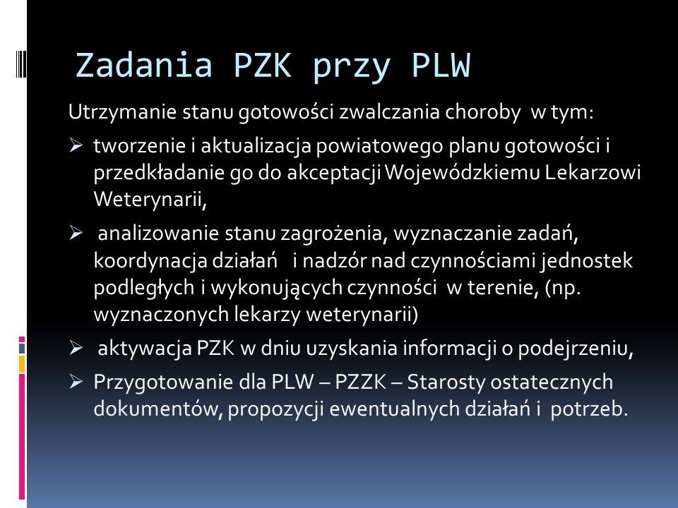 Zadania PZK przy PLW Utrzymanie stanu gotowości zwalczania choroby w tym: tworzenie i aktualizacja powiatowego planu gotowości i przedkładanie go do a
