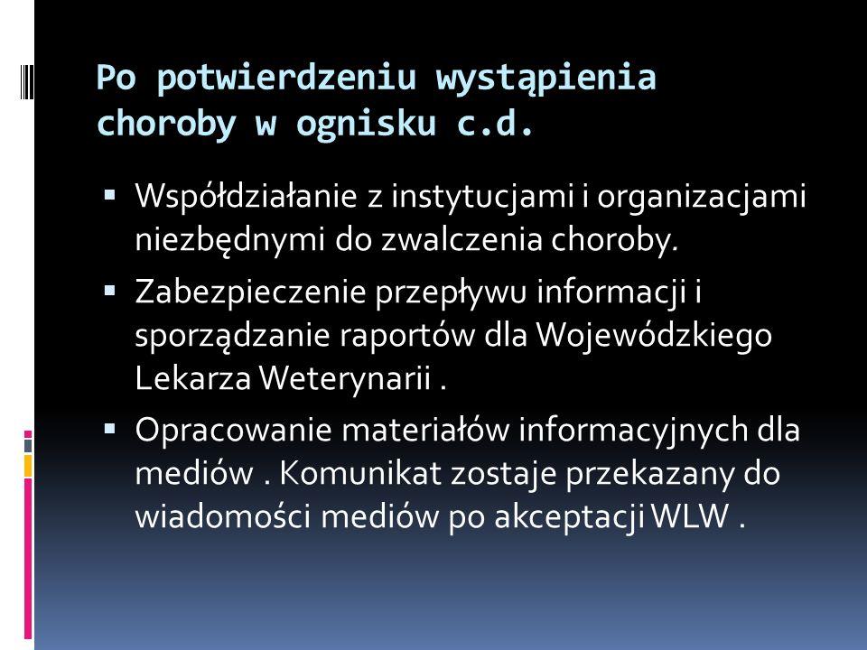 Po potwierdzeniu wystąpienia choroby w ognisku c.d. Współdziałanie z instytucjami i organizacjami niezbędnymi do zwalczenia choroby. Zabezpieczenie pr