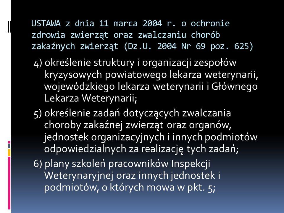 USTAWA z dnia 11 marca 2004 r. o ochronie zdrowia zwierząt oraz zwalczaniu chorób zakaźnych zwierząt (Dz.U. 2004 Nr 69 poz. 625) 4) określenie struktu