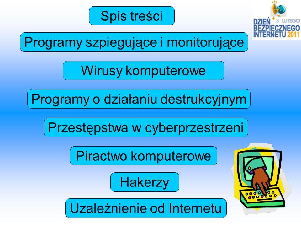 Programy szpiegujące i monitorujące Wirusy komputerowe Przestępstwa w cyberprzestrzeni Piractwo komputerowe Hakerzy Uzależnienie od Internetu Programy