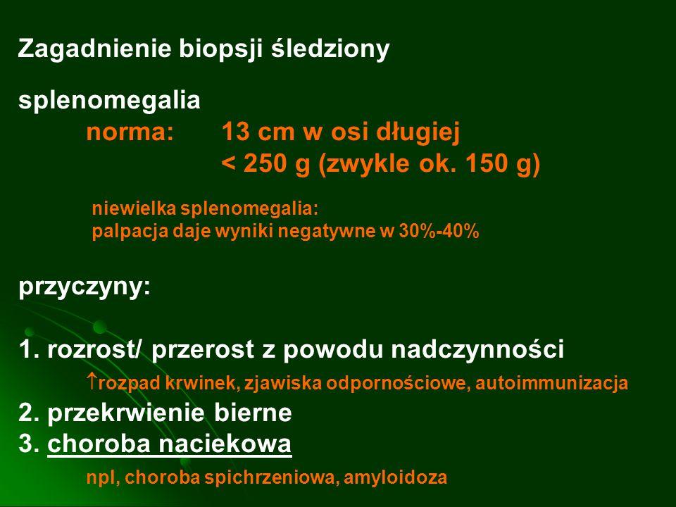 Zagadnienie biopsji śledziony splenomegalia norma: 13 cm w osi długiej < 250 g (zwykle ok. 150 g) niewielka splenomegalia: palpacja daje wyniki negaty