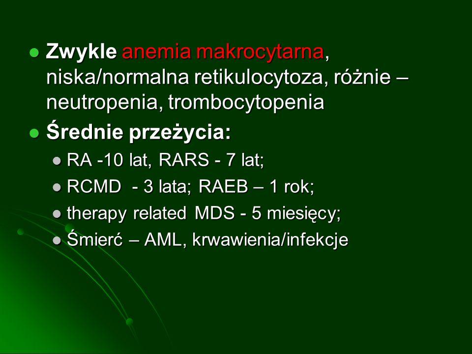 Zwykle anemia makrocytarna, niska/normalna retikulocytoza, różnie – neutropenia, trombocytopenia Zwykle anemia makrocytarna, niska/normalna retikulocy