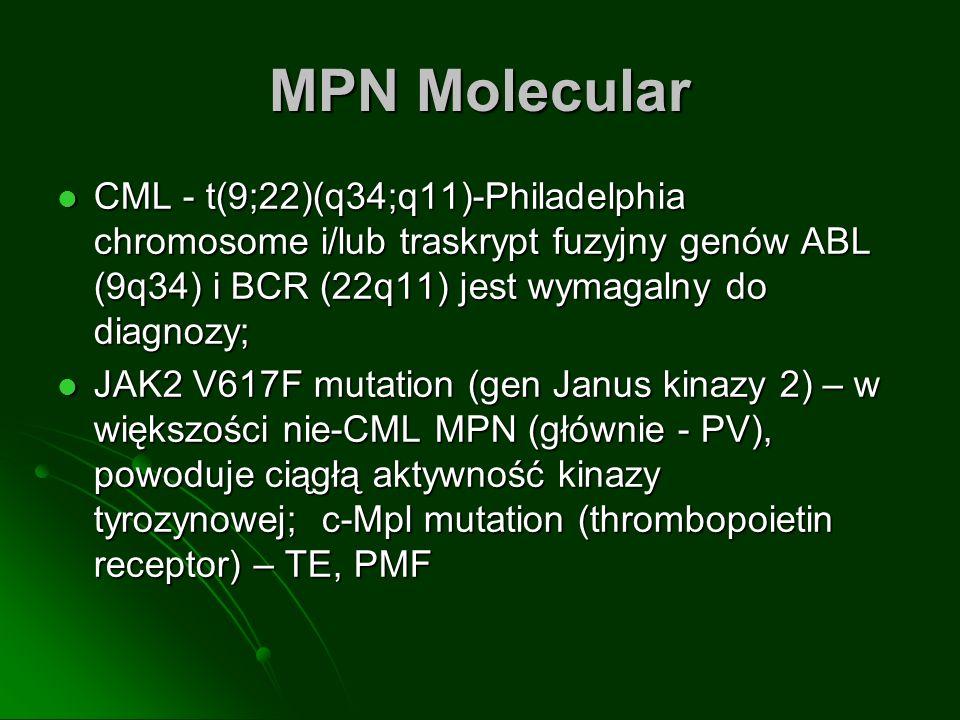 MPN Molecular CML - t(9;22)(q34;q11)-Philadelphia chromosome i/lub traskrypt fuzyjny genów ABL (9q34) i BCR (22q11) jest wymagalny do diagnozy; CML -