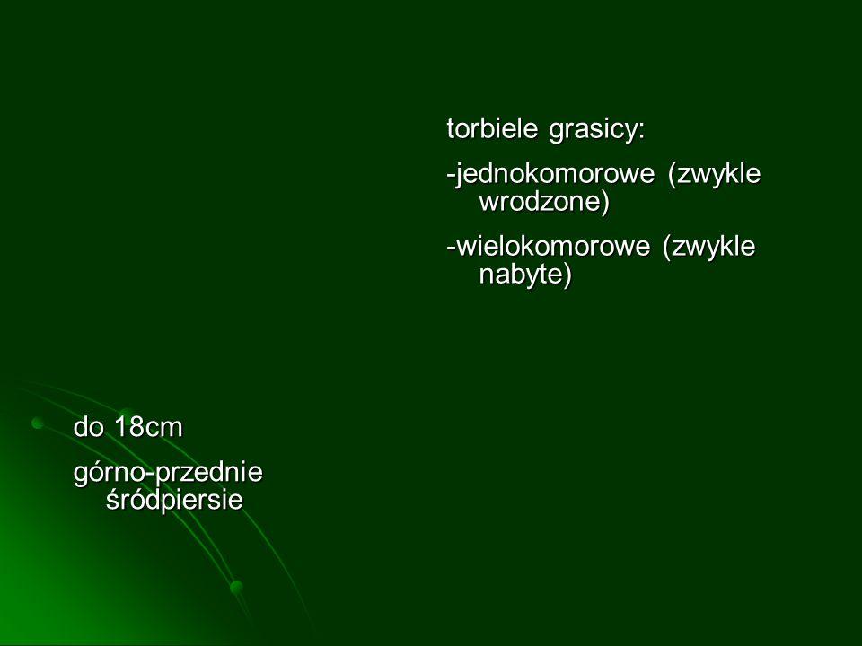 torbiele grasicy: -jednokomorowe (zwykle wrodzone) -wielokomorowe (zwykle nabyte) do 18cm górno-przednie śródpiersie