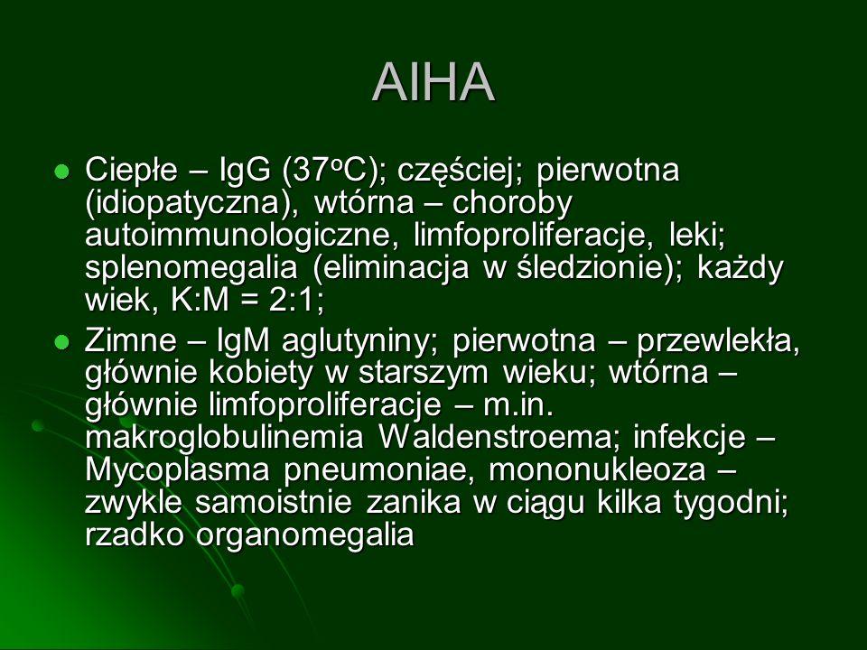 AIHA Ciepłe – IgG (37 o C); częściej; pierwotna (idiopatyczna), wtórna – choroby autoimmunologiczne, limfoproliferacje, leki; splenomegalia (eliminacj