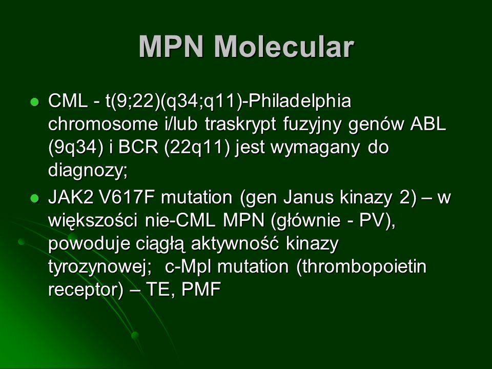 MPN Molecular CML - t(9;22)(q34;q11)-Philadelphia chromosome i/lub traskrypt fuzyjny genów ABL (9q34) i BCR (22q11) jest wymagany do diagnozy; CML - t(9;22)(q34;q11)-Philadelphia chromosome i/lub traskrypt fuzyjny genów ABL (9q34) i BCR (22q11) jest wymagany do diagnozy; JAK2 V617F mutation (gen Janus kinazy 2) – w większości nie-CML MPN (głównie - PV), powoduje ciągłą aktywność kinazy tyrozynowej; c-Mpl mutation (thrombopoietin receptor) – TE, PMF JAK2 V617F mutation (gen Janus kinazy 2) – w większości nie-CML MPN (głównie - PV), powoduje ciągłą aktywność kinazy tyrozynowej; c-Mpl mutation (thrombopoietin receptor) – TE, PMF