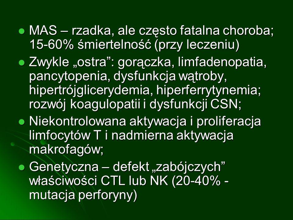 MAS – rzadka, ale często fatalna choroba; 15-60% śmiertelność (przy leczeniu) MAS – rzadka, ale często fatalna choroba; 15-60% śmiertelność (przy leczeniu) Zwykle ostra: gorączka, limfadenopatia, pancytopenia, dysfunkcja wątroby, hipertrójglicerydemia, hiperferrytynemia; rozwój koagulopatii i dysfunkcji CSN; Zwykle ostra: gorączka, limfadenopatia, pancytopenia, dysfunkcja wątroby, hipertrójglicerydemia, hiperferrytynemia; rozwój koagulopatii i dysfunkcji CSN; Niekontrolowana aktywacja i proliferacja limfocytów T i nadmierna aktywacja makrofagów; Niekontrolowana aktywacja i proliferacja limfocytów T i nadmierna aktywacja makrofagów; Genetyczna – defekt zabójczych właściwości CTL lub NK (20-40% - mutacja perforyny) Genetyczna – defekt zabójczych właściwości CTL lub NK (20-40% - mutacja perforyny)