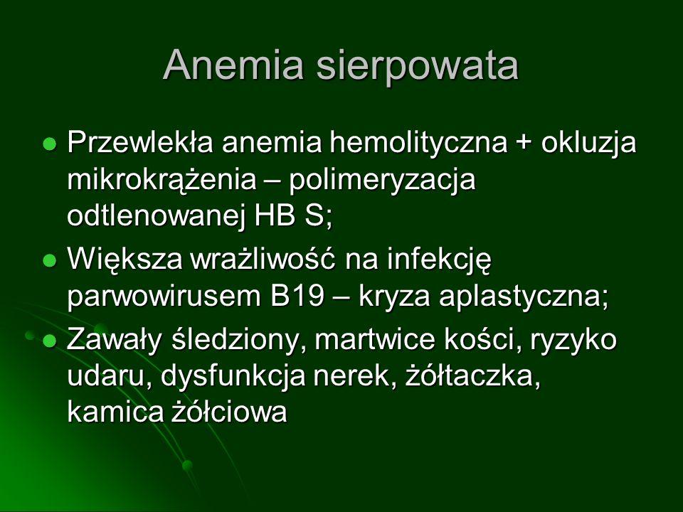 Anemia sierpowata Przewlekła anemia hemolityczna + okluzja mikrokrążenia – polimeryzacja odtlenowanej HB S; Przewlekła anemia hemolityczna + okluzja mikrokrążenia – polimeryzacja odtlenowanej HB S; Większa wrażliwość na infekcję parwowirusem B19 – kryza aplastyczna; Większa wrażliwość na infekcję parwowirusem B19 – kryza aplastyczna; Zawały śledziony, martwice kości, ryzyko udaru, dysfunkcja nerek, żółtaczka, kamica żółciowa Zawały śledziony, martwice kości, ryzyko udaru, dysfunkcja nerek, żółtaczka, kamica żółciowa