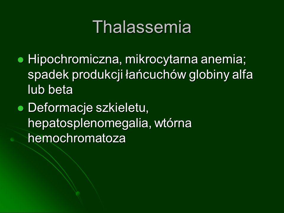 Thalassemia Hipochromiczna, mikrocytarna anemia; spadek produkcji łańcuchów globiny alfa lub beta Hipochromiczna, mikrocytarna anemia; spadek produkcji łańcuchów globiny alfa lub beta Deformacje szkieletu, hepatosplenomegalia, wtórna hemochromatoza Deformacje szkieletu, hepatosplenomegalia, wtórna hemochromatoza