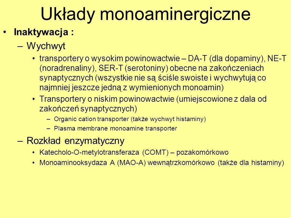 Układy monoaminergiczne Inaktywacja : –Wychwyt transportery o wysokim powinowactwie – DA-T (dla dopaminy), NE-T (noradrenaliny), SER-T (serotoniny) ob
