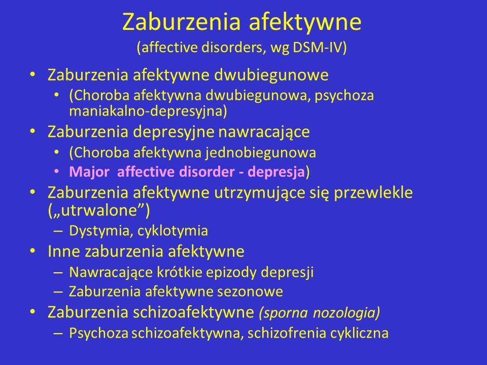 Zaburzenia afektywne (affective disorders, wg DSM-IV) Zaburzenia afektywne dwubiegunowe (Choroba afektywna dwubiegunowa, psychoza maniakalno-depresyjn