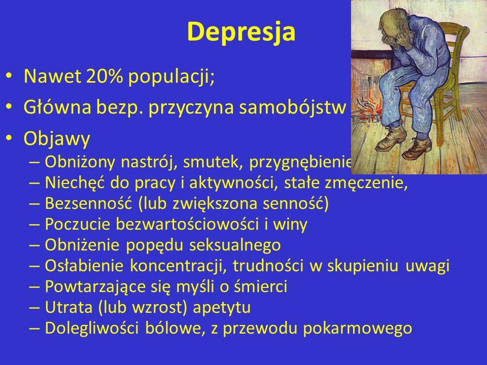 Depresja Nawet 20% populacji; Główna bezp. przyczyna samobójstw Objawy – Obniżony nastrój, smutek, przygnębienie, anhedonia – Niechęć do pracy i aktyw