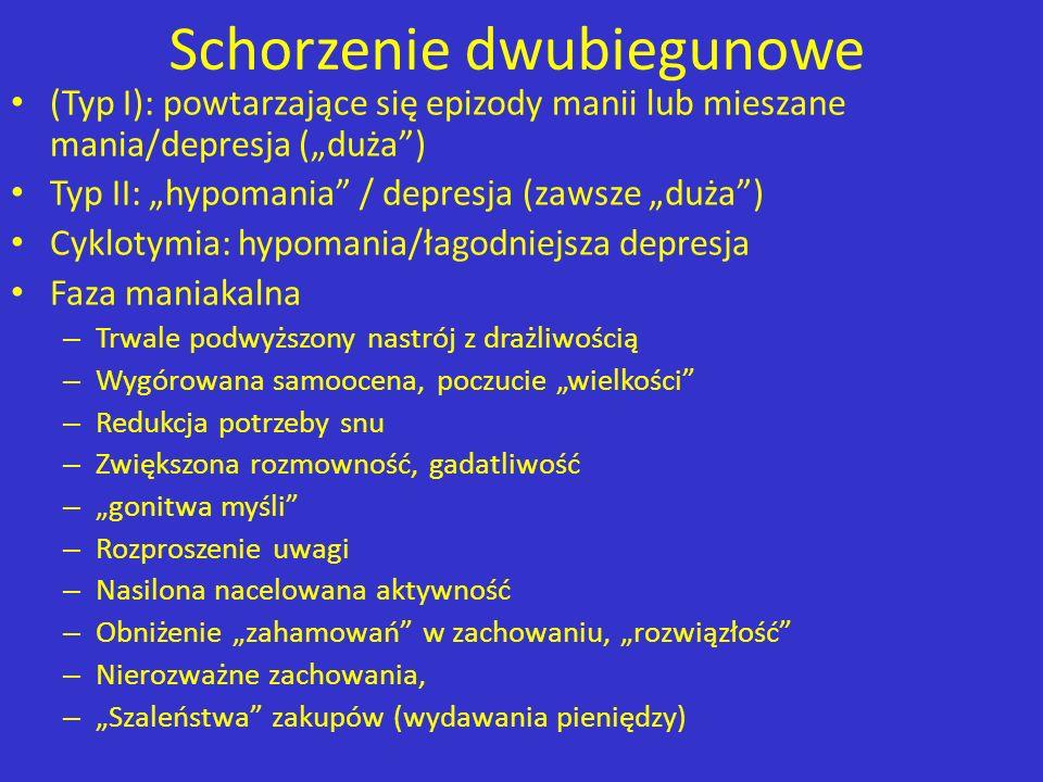 Schorzenie dwubiegunowe (Typ I): powtarzające się epizody manii lub mieszane mania/depresja (duża) Typ II: hypomania / depresja (zawsze duża) Cyklotym