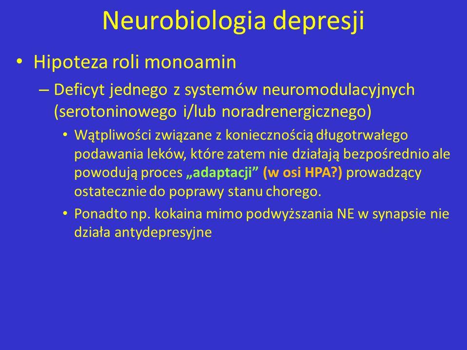 Neurobiologia depresji Hipoteza roli monoamin – Deficyt jednego z systemów neuromodulacyjnych (serotoninowego i/lub noradrenergicznego) Wątpliwości zw