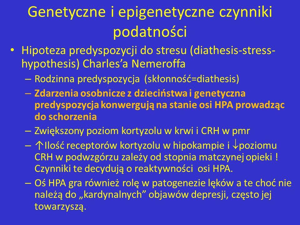 Genetyczne i epigenetyczne czynniki podatności Hipoteza predyspozycji do stresu (diathesis-stress- hypothesis) Charlesa Nemeroffa – Rodzinna predyspoz