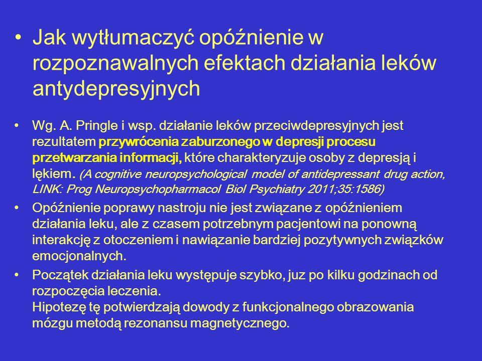 Jak wytłumaczyć opóźnienie w rozpoznawalnych efektach działania leków antydepresyjnych Wg. A. Pringle i wsp. działanie leków przeciwdepresyjnych jest