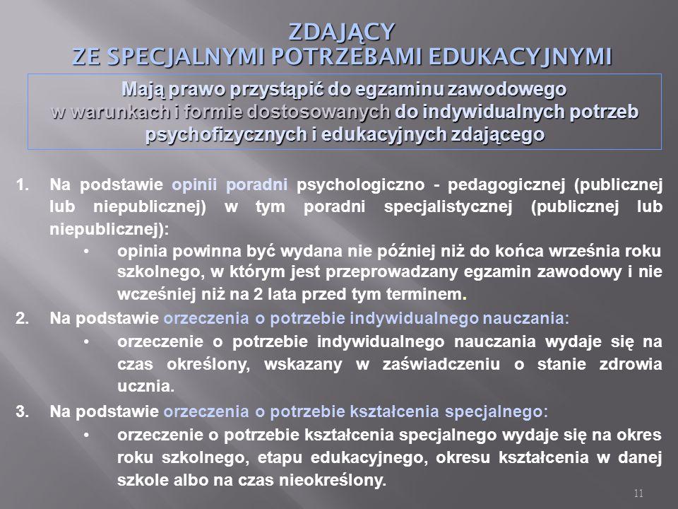 11 ZDAJ Ą CY ZE SPECJALNYMI POTRZEBAMI EDUKACYJNYMI Mają prawo przystąpić do egzaminu zawodowego w warunkach i formie dostosowanych do indywidualnych potrzeb psychofizycznych i edukacyjnych zdającego 1.Na podstawie opinii poradni psychologiczno - pedagogicznej (publicznej lub niepublicznej) w tym poradni specjalistycznej (publicznej lub niepublicznej): opinia powinna być wydana nie później niż do końca września roku szkolnego, w którym jest przeprowadzany egzamin zawodowy i nie wcześniej niż na 2 lata przed tym terminem.