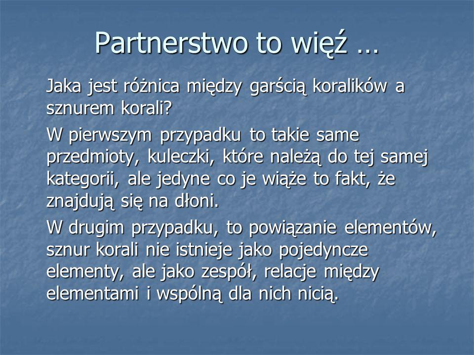 Partnerstwo to więź … Żeby zaistniała partnerstwo, musi być dobro wspólne, czyli … dobro wszystkich a zarazem każdego z osobna.