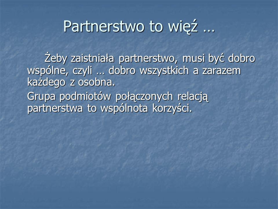 Nie jestem samotną wyspą Partnerstwo staje się ważnym aktorem lokalnej sceny i … partnerem dla innych podmiotów.