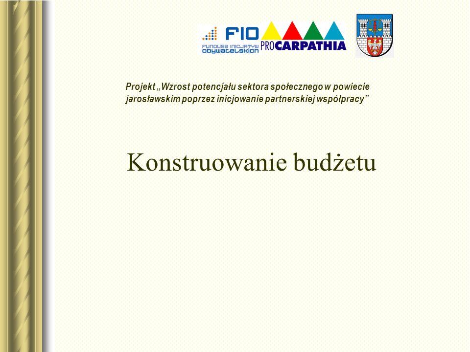 Konstruowanie budżetu Projekt Wzrost potencjału sektora społecznego w powiecie jarosławskim poprzez inicjowanie partnerskiej współpracy