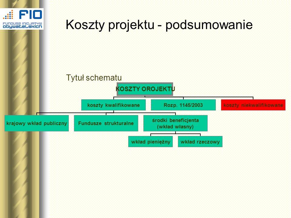 Koszty projektu - podsumowanie Tytuł schematu